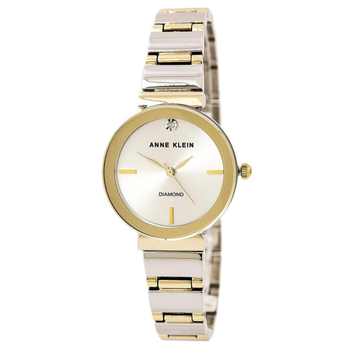 Anne Klein 2435SVTT Women's Diamond Accented Silver Dial Two Tone Yellow Gold Steel Watch