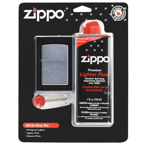 Zippo 24651 All In One Lighter, Fluid & Flints Gift Set