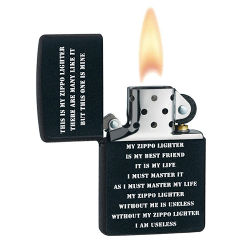 Zippo 24710 Classic Black Matte ZPP Creed Windproof Pocket Lighter