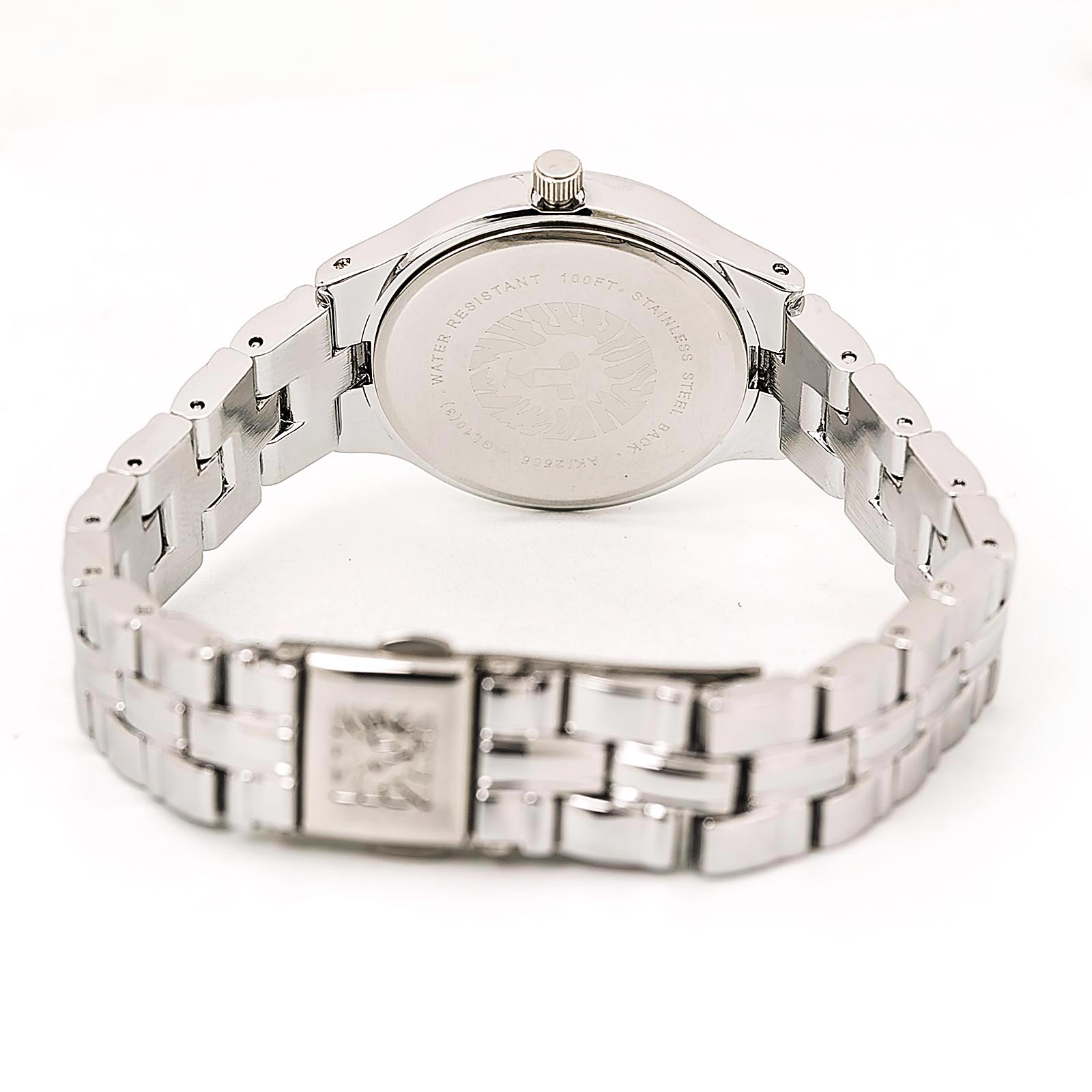Anne Klein 2505SVSV Women's Quartz Swarovski Crystal White Dial Steel Bracelet Watch