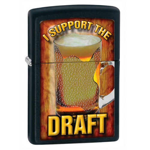 Zippo 28294 Classic I Support The Draft Black Matte Windproof Lighter