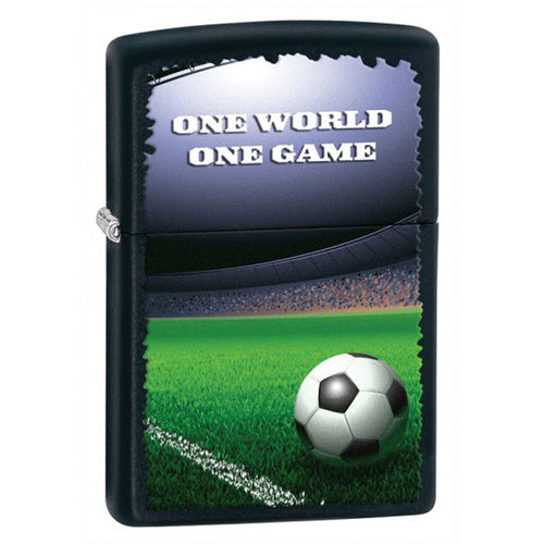 Zippo 28301 Classic One World One Game Football Black Matte Windproof Lighter
