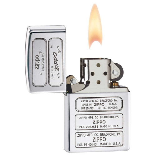 Zippo 28381 Classic High Polish Chrome Bottom Stamp Windproof Pocket Lighter