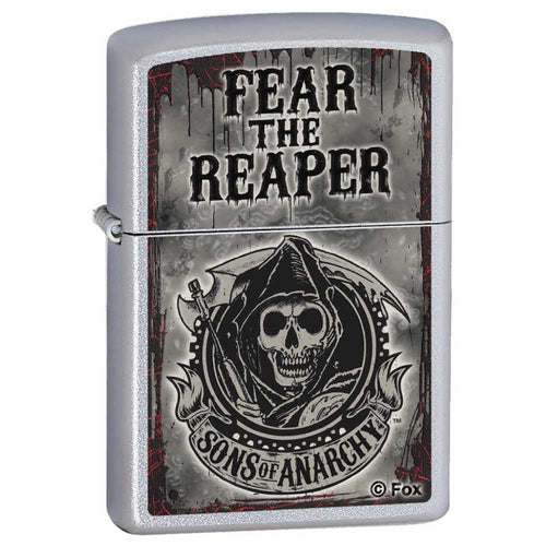Zippo 28502 Classic Satin Chrome Fear The Reaper Windproof Pocket Lighter