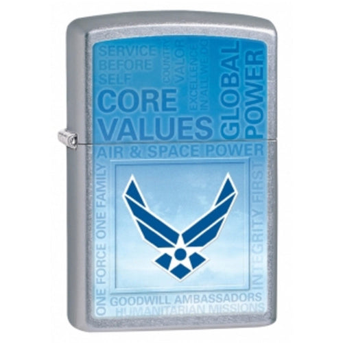 Zippo 28622 Classic USAF Street Chrome Blue Windproof Pocket Lighter