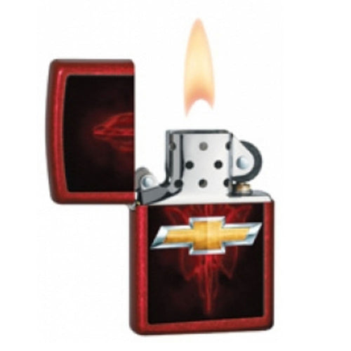 Zippo 28636 Chevy Bowtie Candy Apple Red Windproof Pocket Lighter