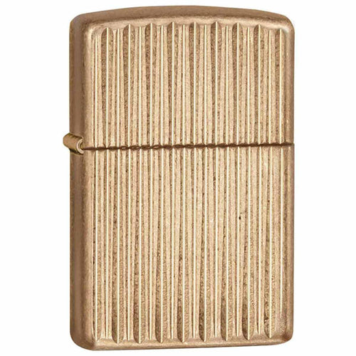 Zippo 28638 Classic Armor Vertical Gold Strips Tumbled Brass Windproof Pocket Lighter
