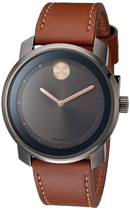 Movado Men's 3600378 Bold Gray Museum Dial Brown Leather Watch