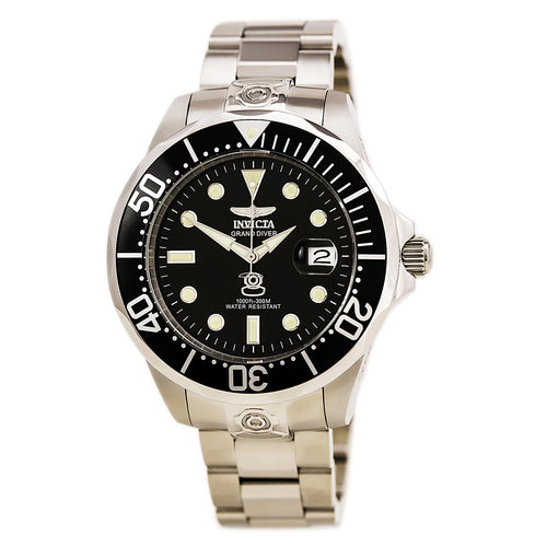 Invicta 3043 Men's Automatic Grand Diver Black Dial Stainless Steel Watch