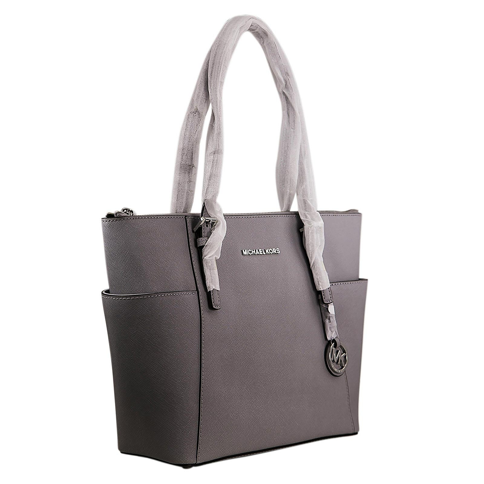 Michael Kors 30F2STTT8L-083 Women's Jet Set Top-Zip Dove Saffiano Leather Medium Tote