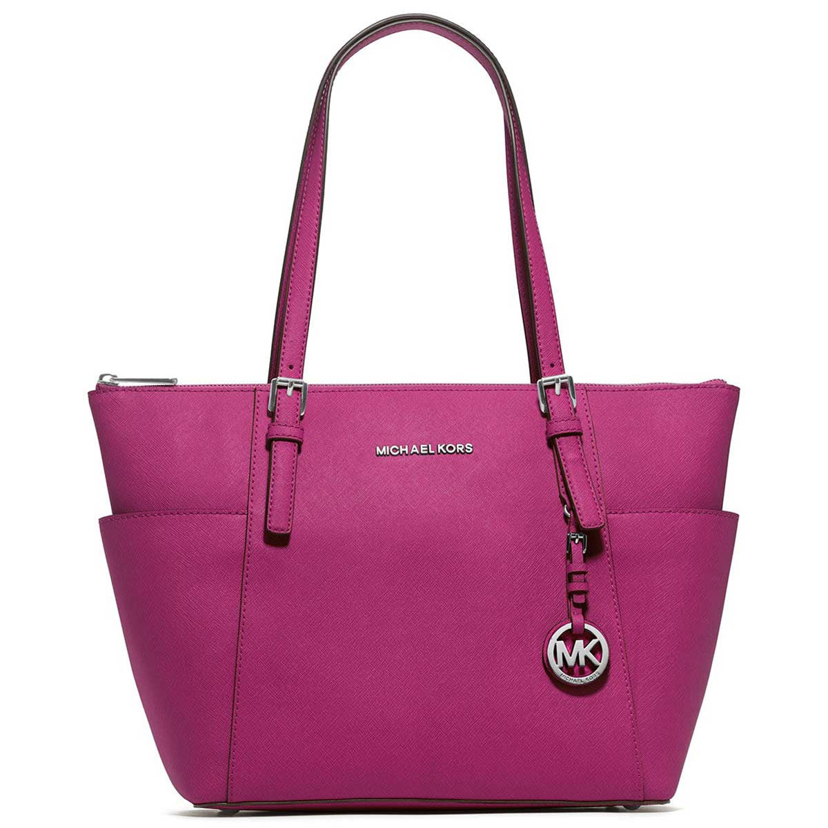 Michael Kors 30F2STTT8L-670 Women's Jet Set Top-Zip Deep Pink Cow Leather Tote