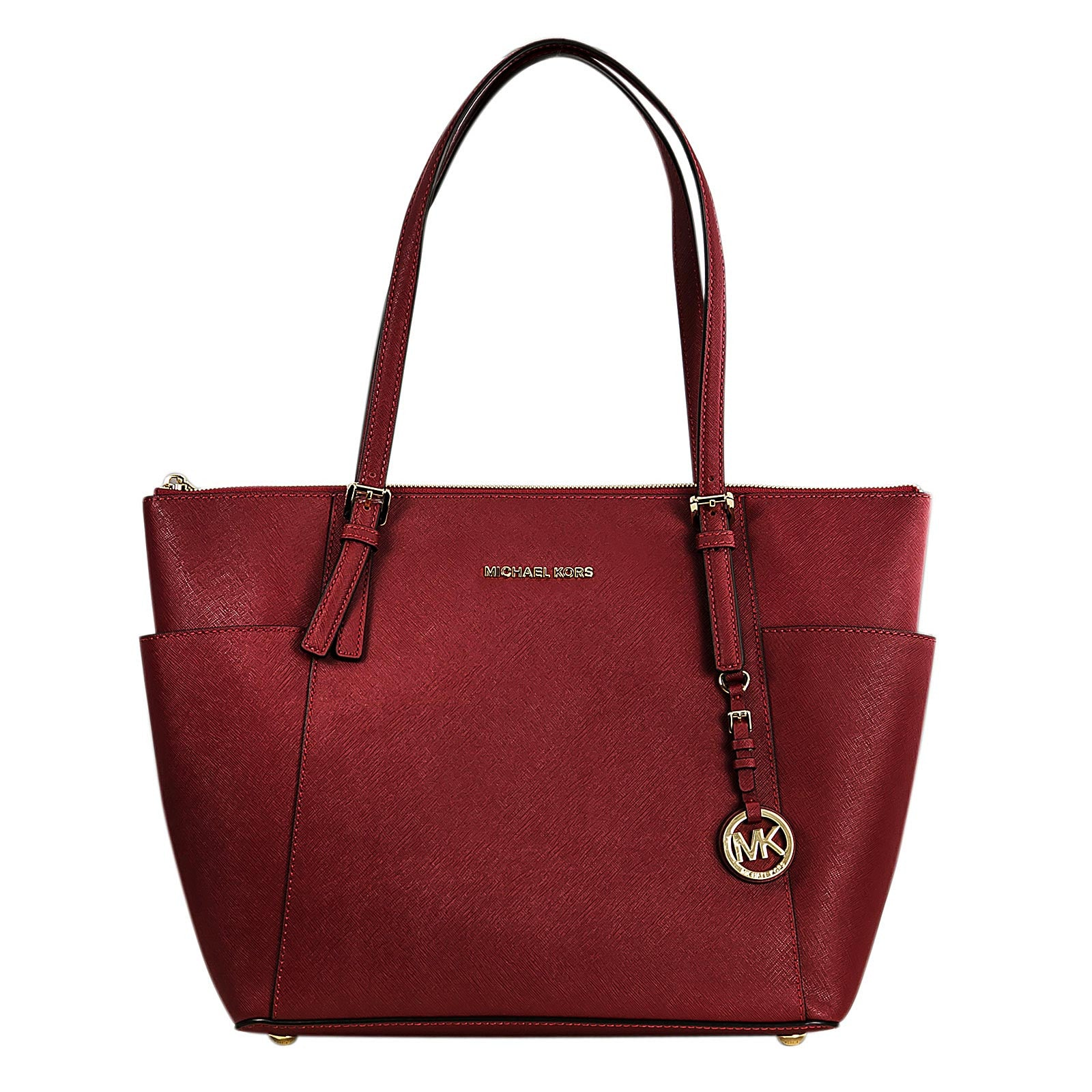 Michael Kors 30F4GTTT9L-600 Women's Jet Set Top-Zip Red Saffiano Leather Large Tote