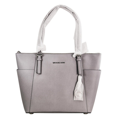 Michael Kors 30F4STTT9L-083 Women's Jet Set Top-Zip Dove Saffiano Leather Large Tote