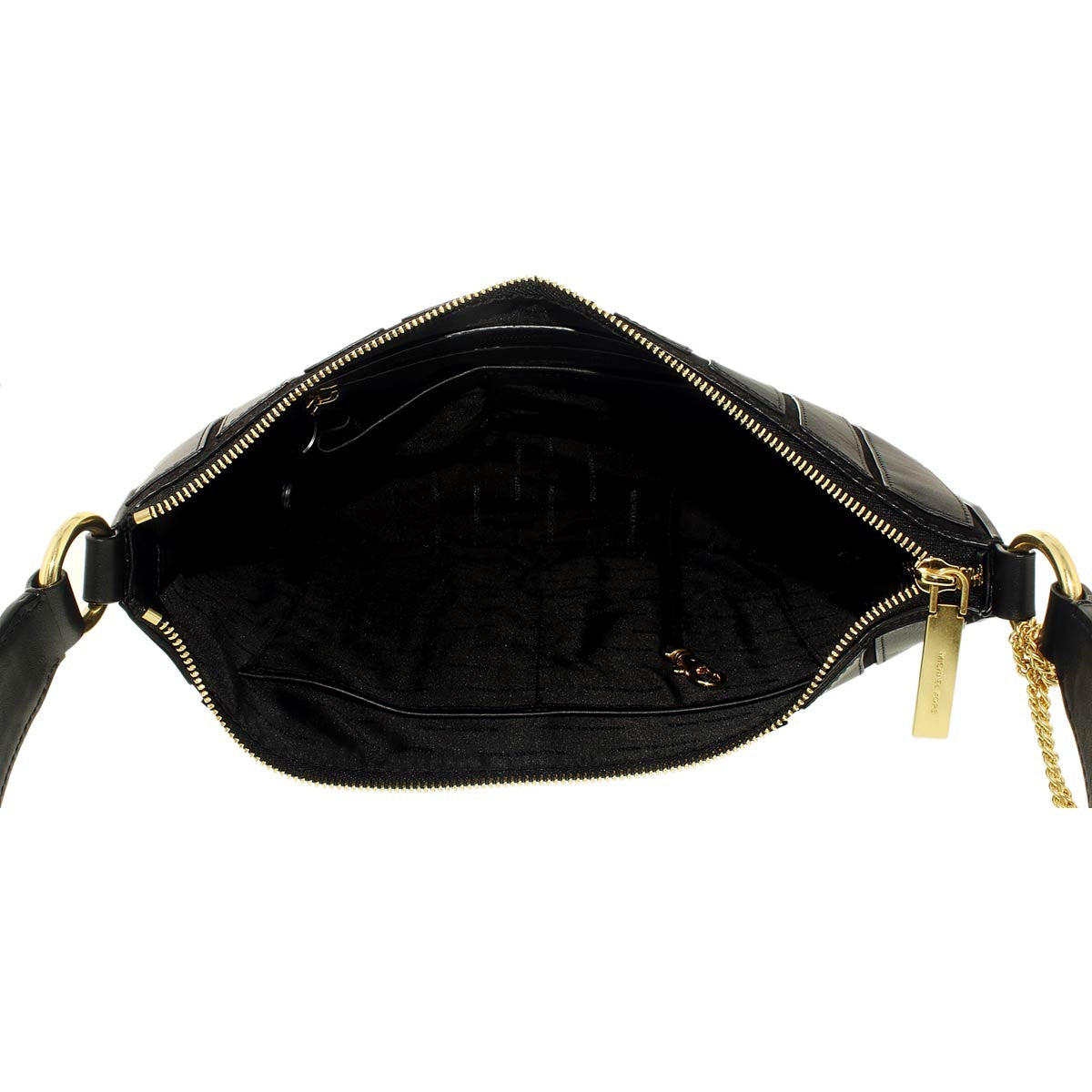 Michael Kors 30F6ABJH6S-001 Women's Brooklyn Applique Black Suede Leather Convertible Medium Hobo