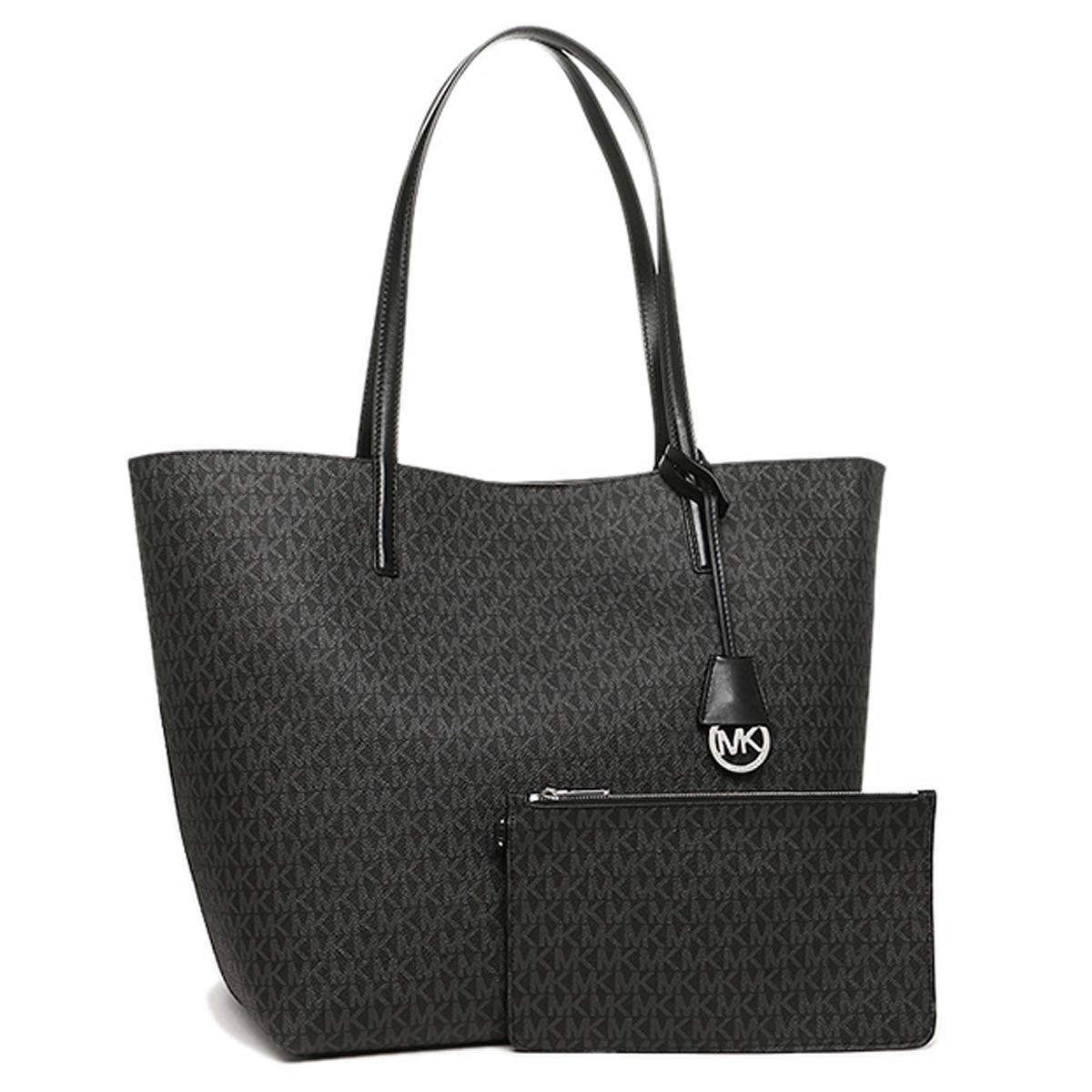 Michael Kors 30F6SH3T2V-027 Women's Hayley Large Logo Black/Grey PVC Shoulder Tote