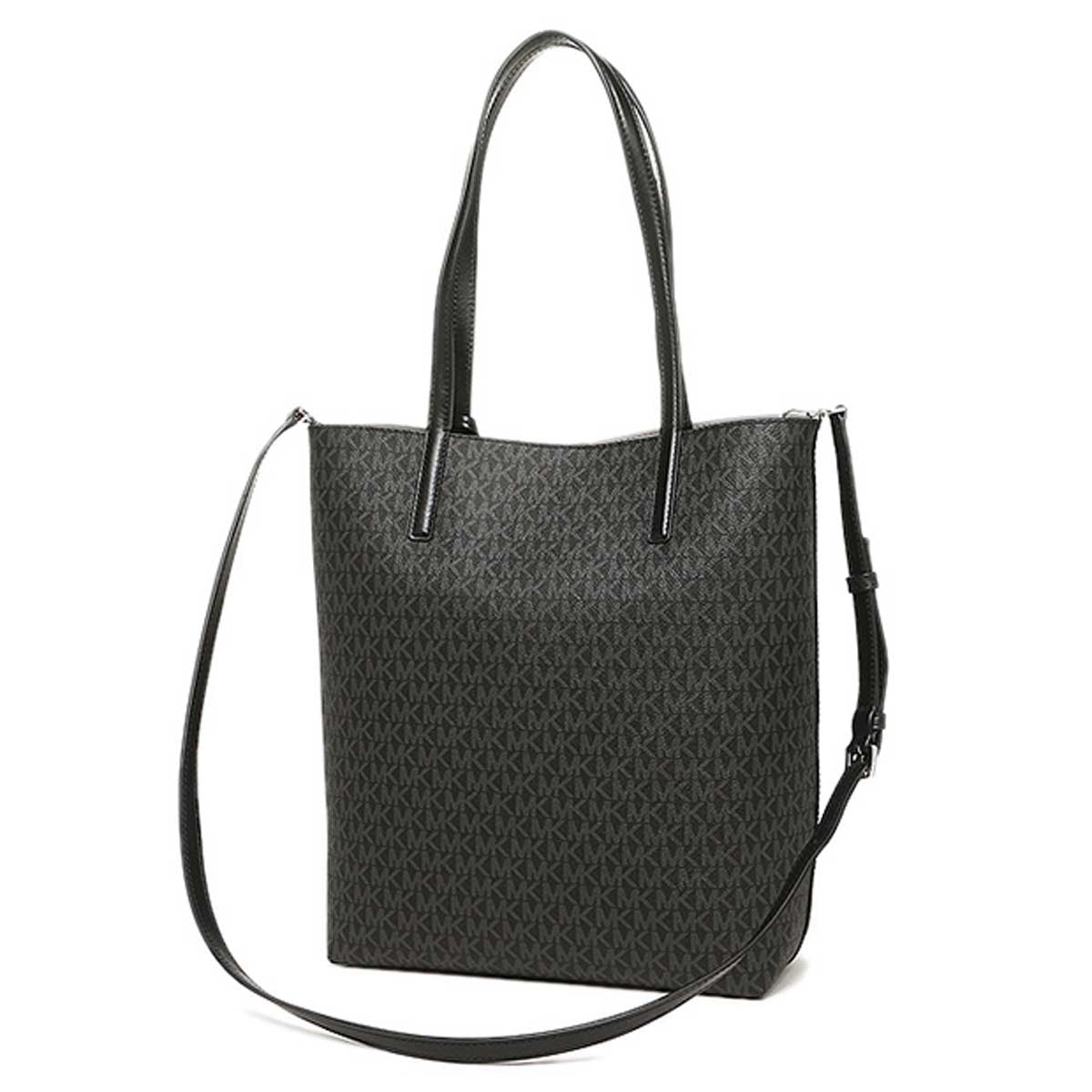 Michael Kors 30F6SH3T3V-027 Women's Hayley Large Logo North-South Black/Grey PVC Shoulder Tote