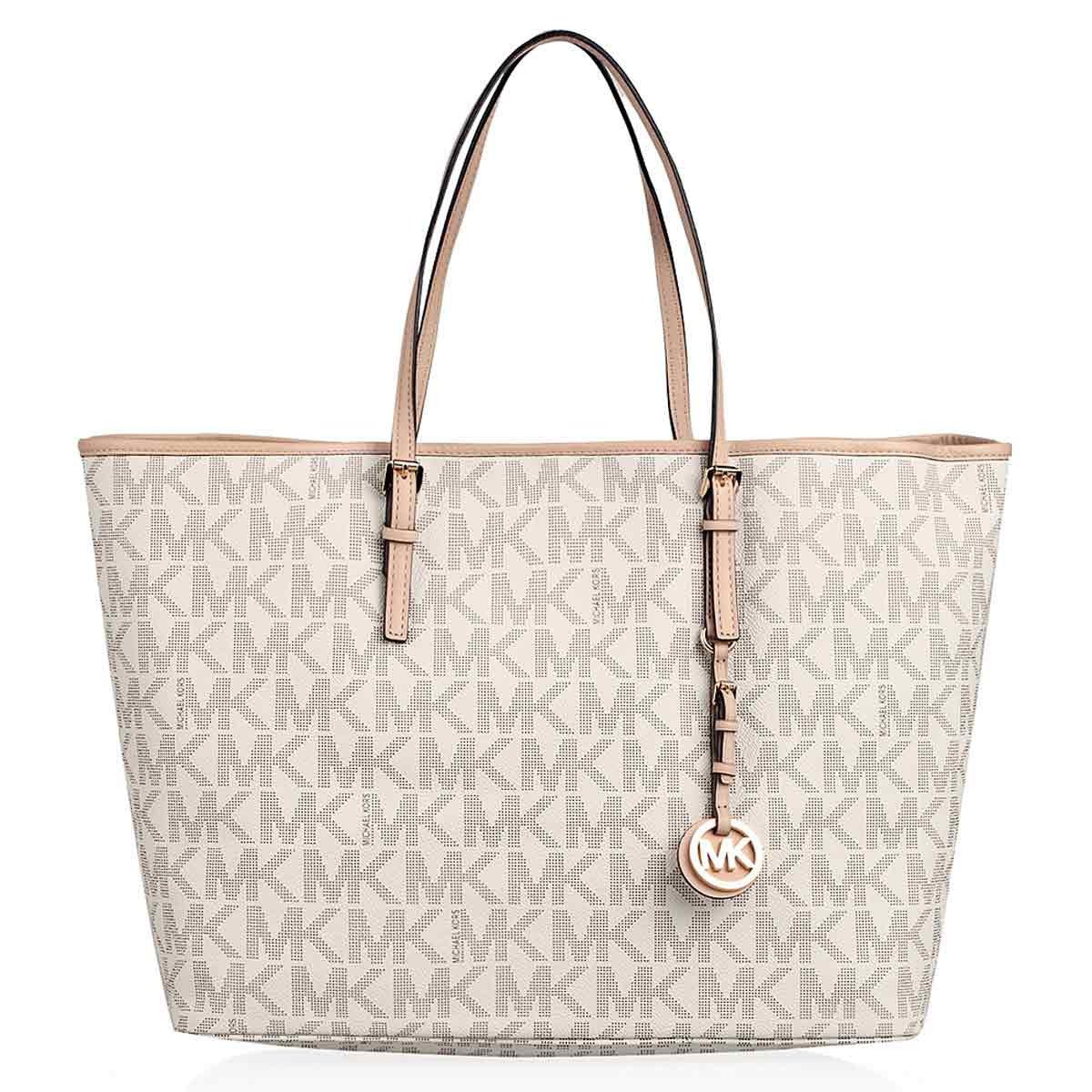 Michael Kors 30H1GTVT2B-150 Women's Jet Set Travel Vanilla Logo PVC Medium Tote