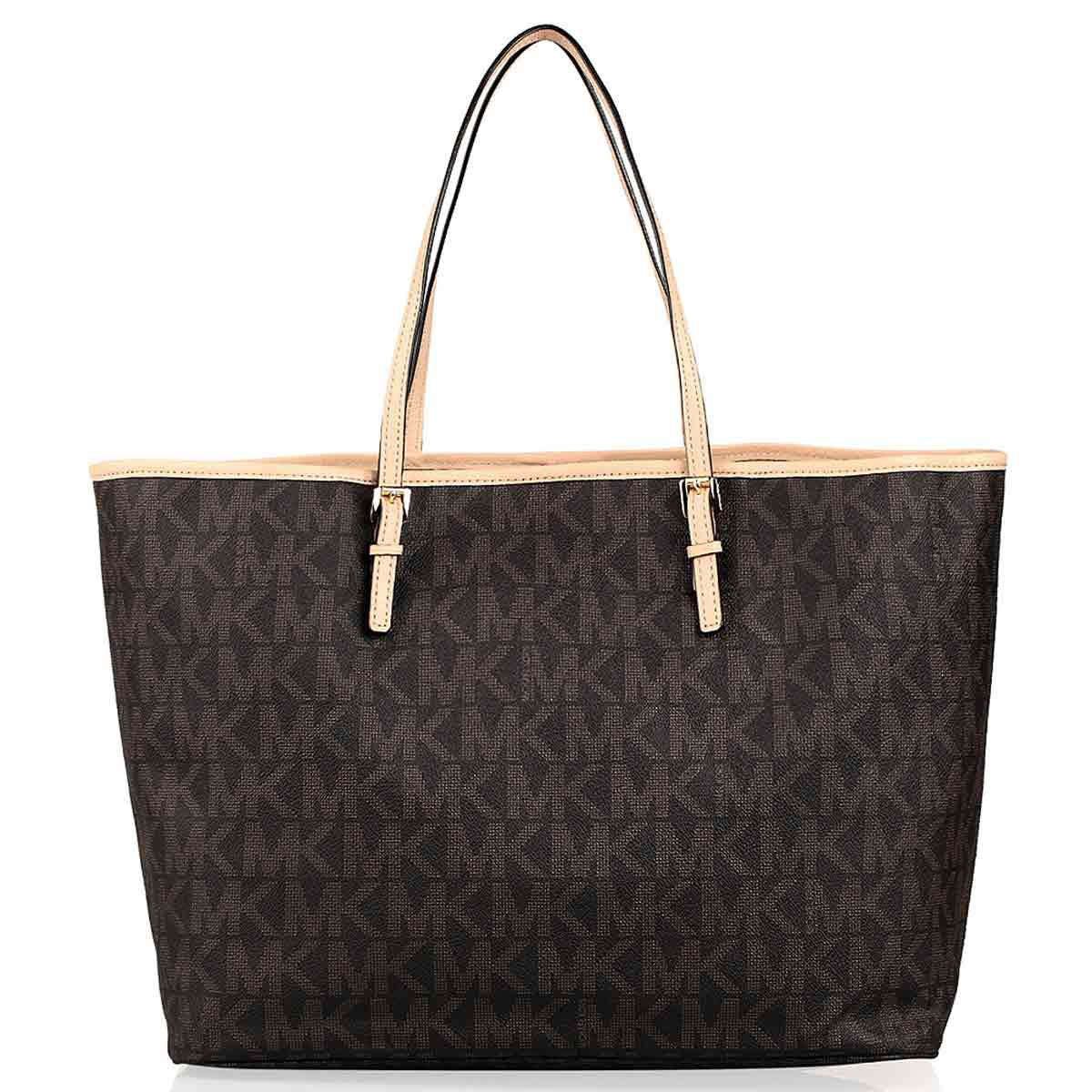 Michael Kors 30H1GTVT2B-200 Women's Jet Set Travel Brown Logo PVC Medium Tote