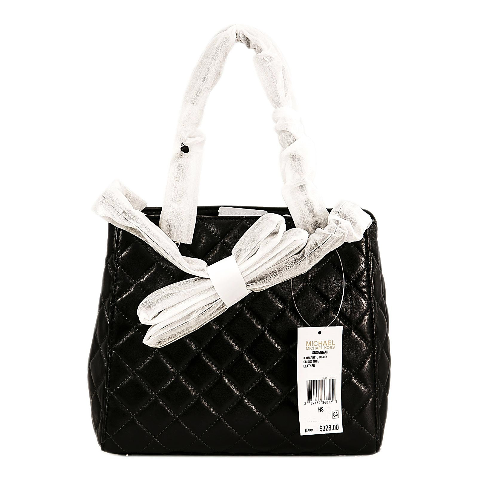 Michael Kors 30H5SAHT1L-001 Women's Susannah Black Quilted Lamb Leather Small Shoulder Tote