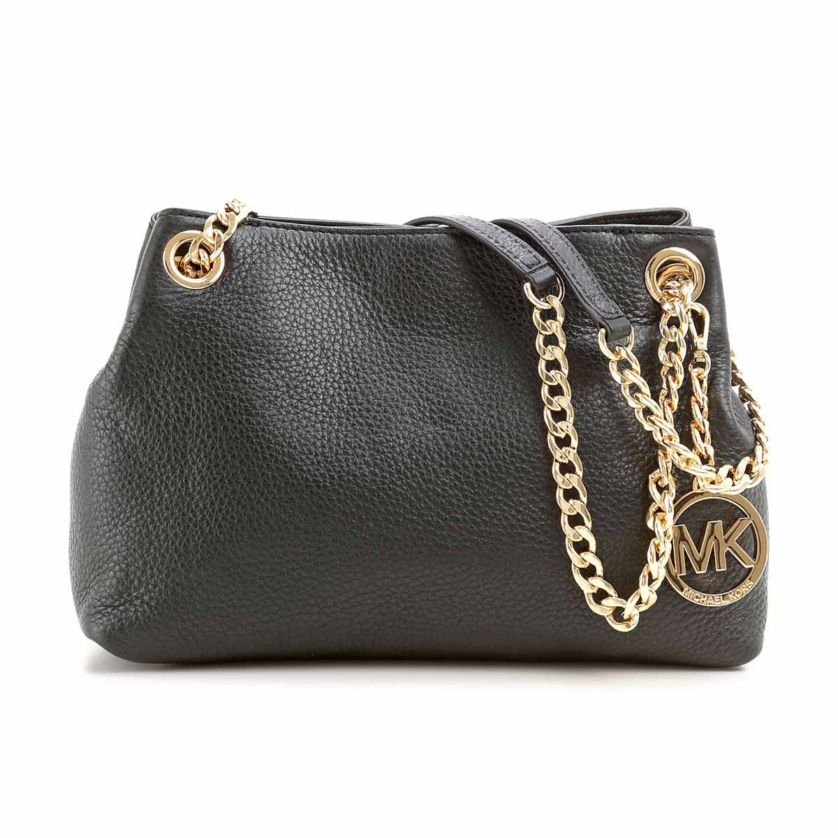 Michael Kors 30S5GTCM2L-001 Women's Jet Set Chain Black Pebbled Leather Medium Messenger