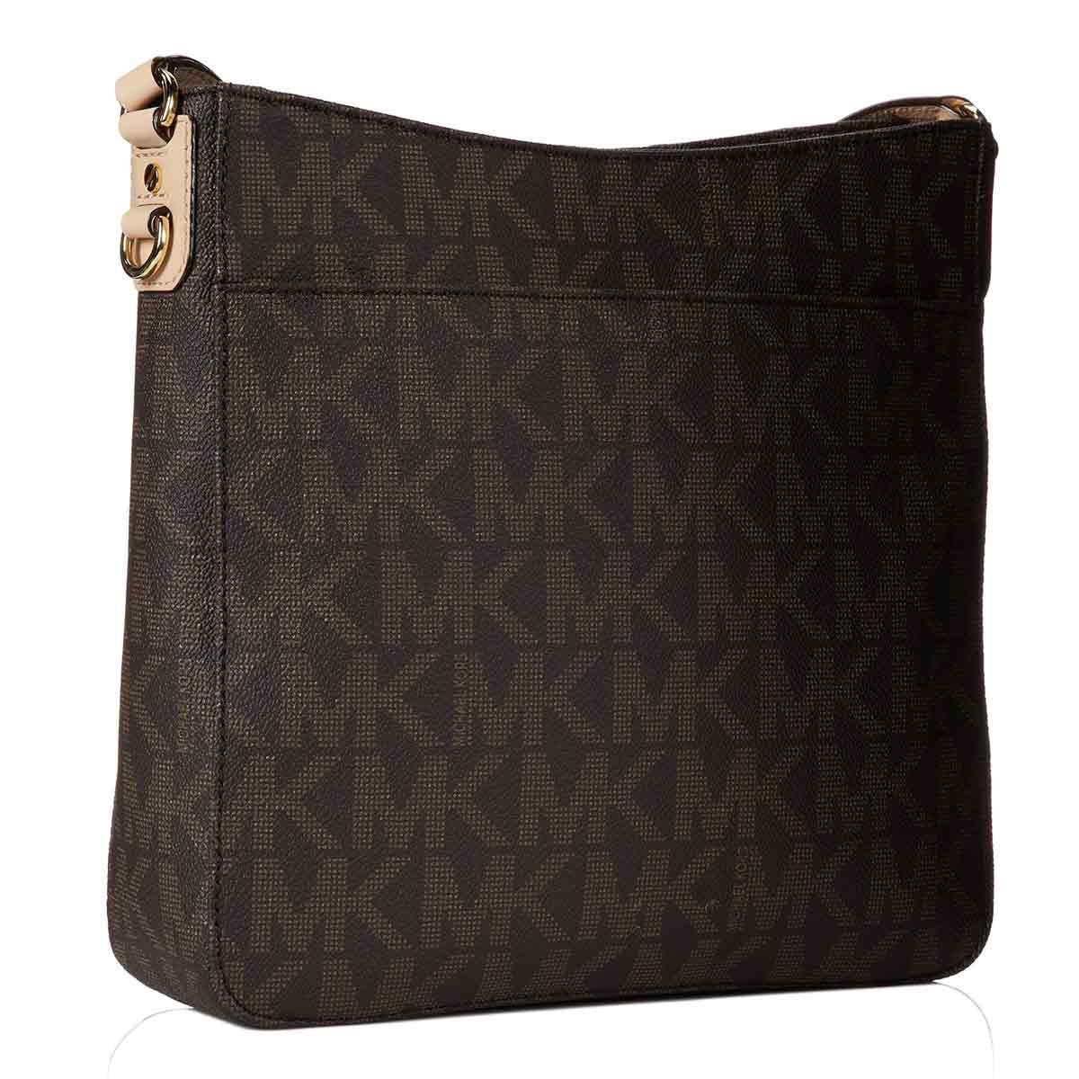 Michael Kors 30T2GTVM3B-200 Women's Jet Set Travel Large Brown PVC Logo Messenger Bag