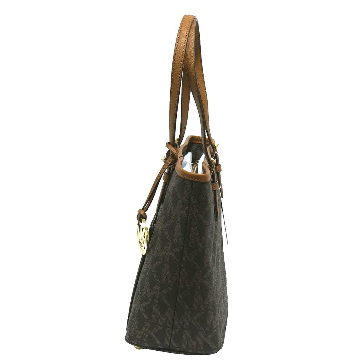 Michael Kors 30T4GTTT6B-200 Women's Jet Set Snap Brown PVC Medium Tote