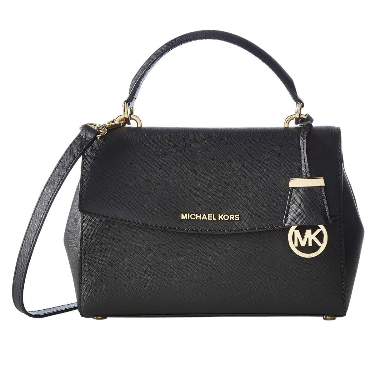 Michael Kors 30T5GAVS2L-001 Women's Ava Small Black Saffiano Leather Crossbody Satchel