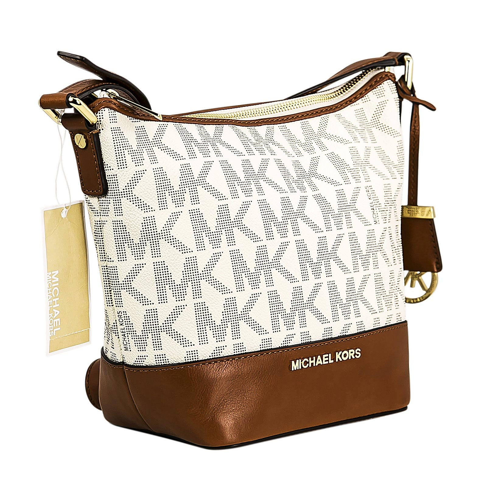 Michael Kors 30T5GBFM1B-150 Women's Bedford Small Vanilla PVC & Brown Leather Messenger