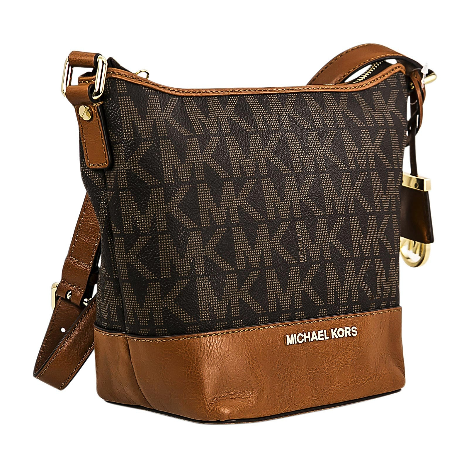 Michael Kors 30T5GBFM1B-200 Women's Bedford Small Brown PVC & Brown Leather Messenger