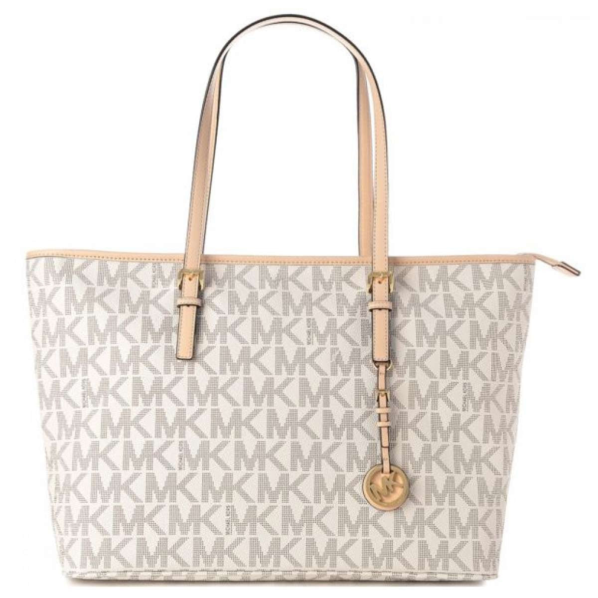 Michael Kors 30T5GTVT2B-150 Women's Jet Set Vanilla PVC Large Shoulder Tote
