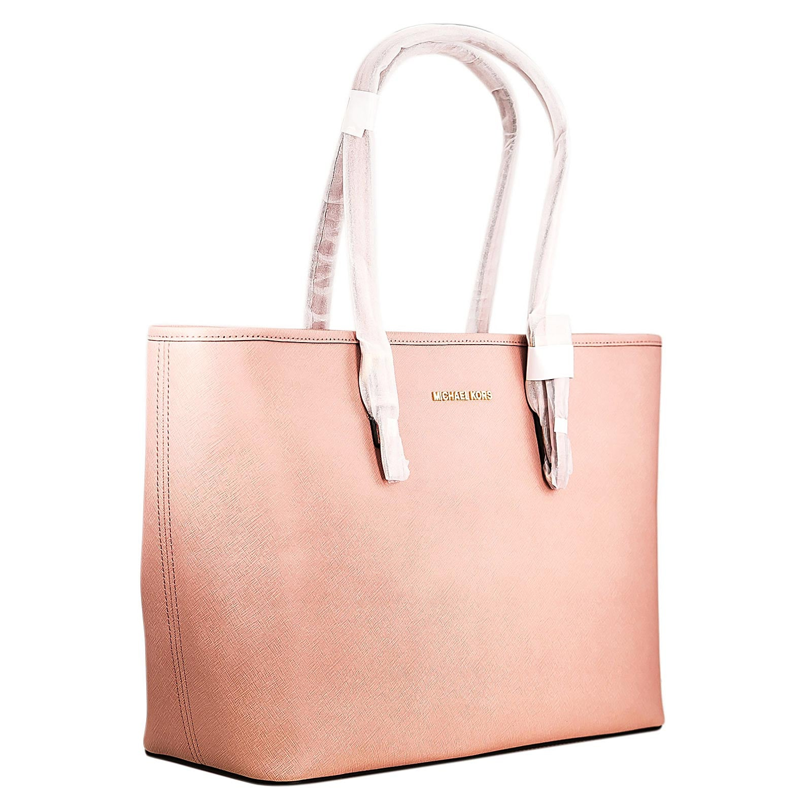 Michael Kors 30T5GTVT2L-695 Women's Jet Set Travel Top-Zip Pale Pink Saffiano Leather Medium Tote