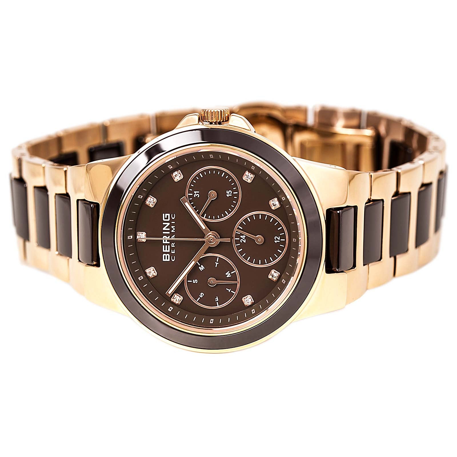 Bering 32237-765 Women's Ceramic Brown Dial Rose Gold Steel & Ceramic Day Date Watch