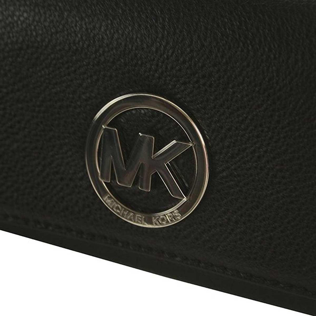 Michael Kors 32F2SFTE3L-001 Women's Fulton Flap Black Leather Continental Carryall Wallet