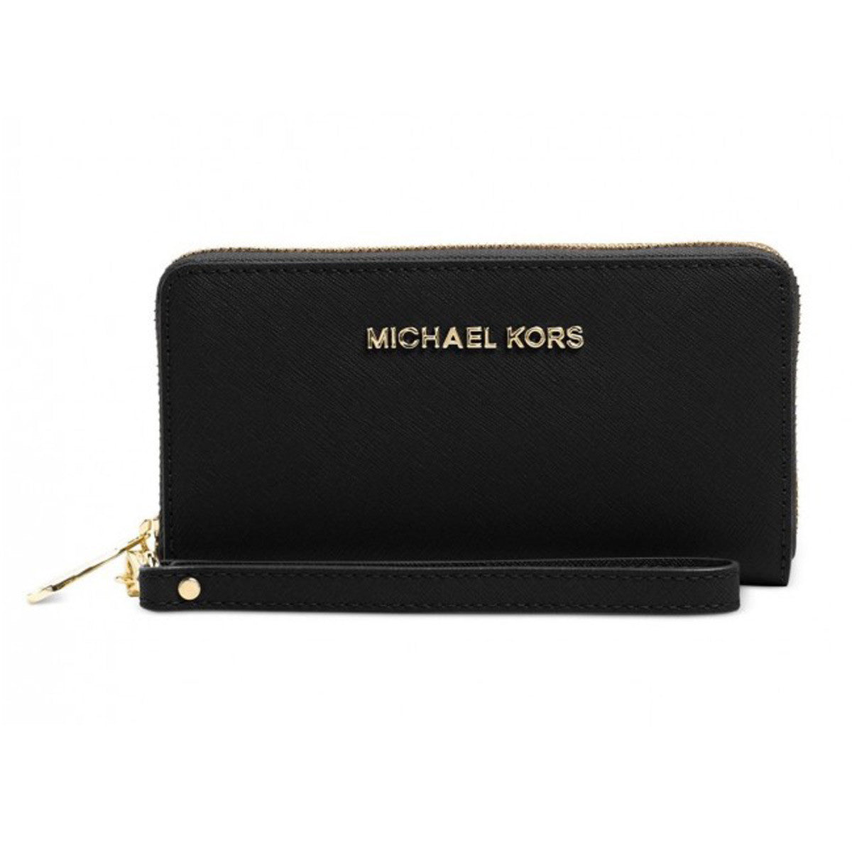 Michael Kors 32H4STVE9L-001 Women's Jet Set Travel Large Black Saffiano Leather Smartphone Wristlett