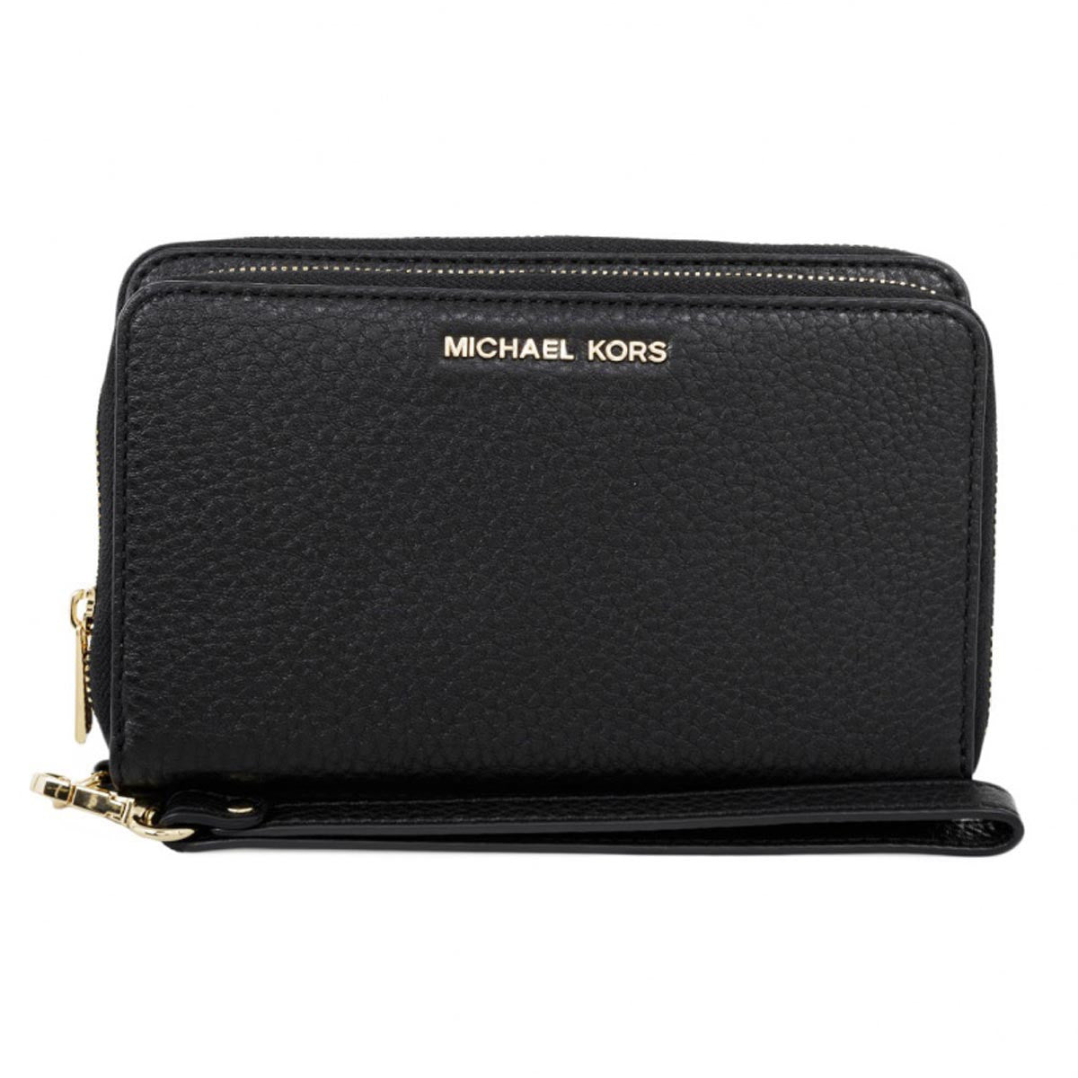 Michael Kors 32H5GAFE1L-001 Women's Adele Double-Zip Black Leather Wristlett Wallet