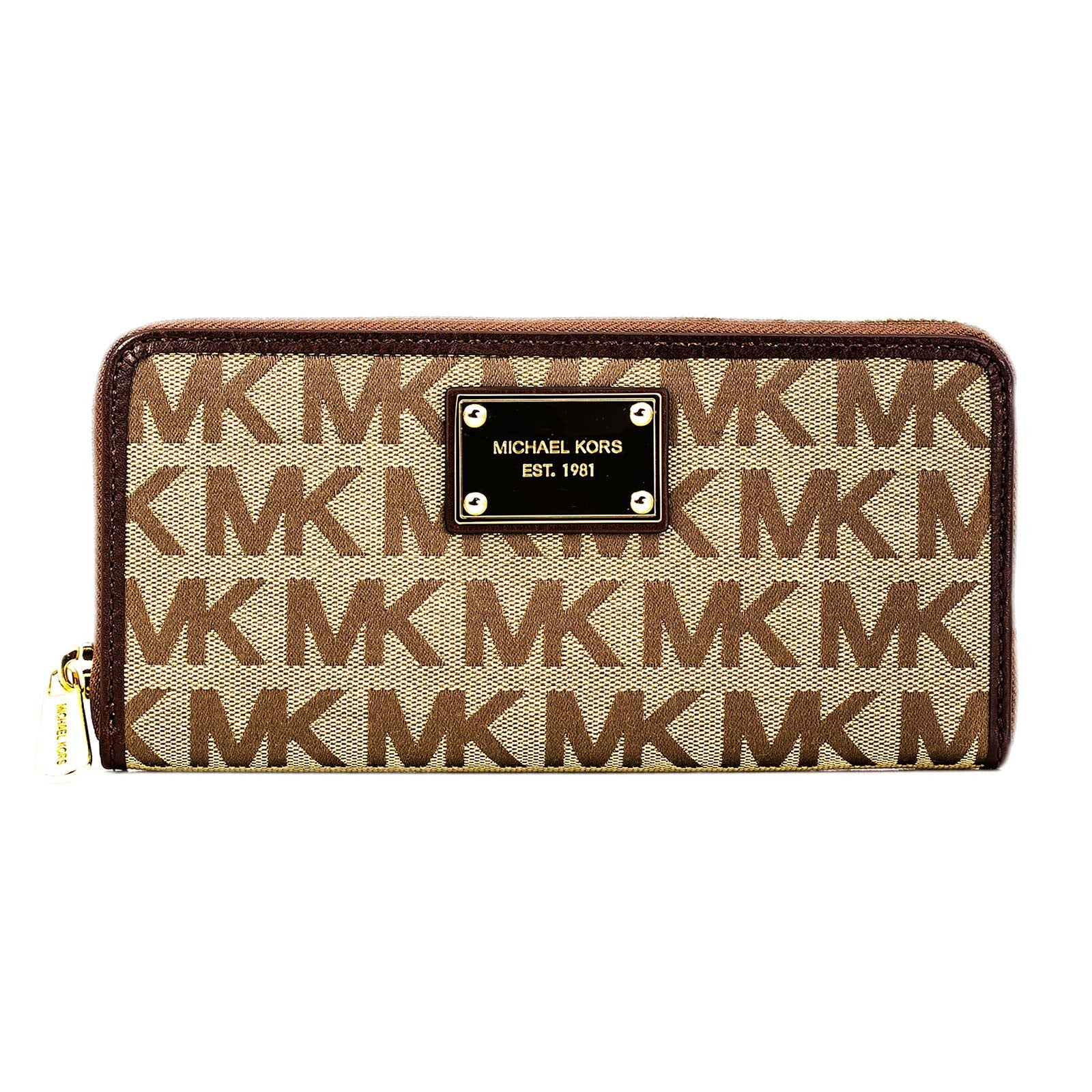 Michael Kors 32S12JSE3J-246 Women's Jet Set Brown Leather & Canvas Wallet