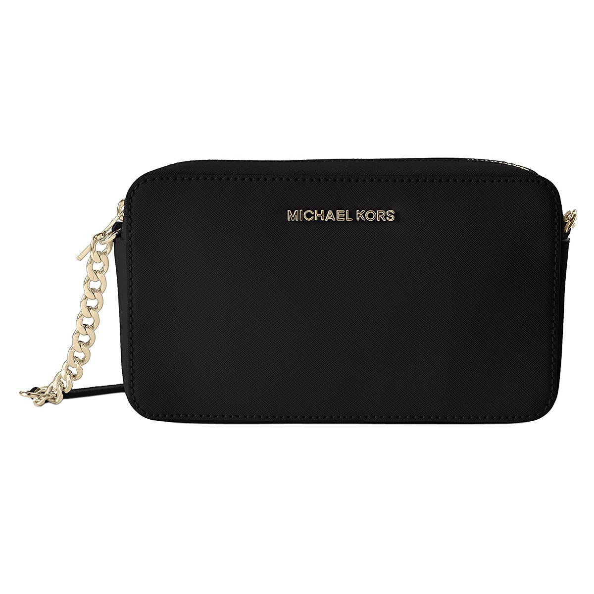 Michael Kors 32T6GTVC6L-001 Women's Jet Set Travel Black Saffiano Leather Crossbody Shoulder Bag