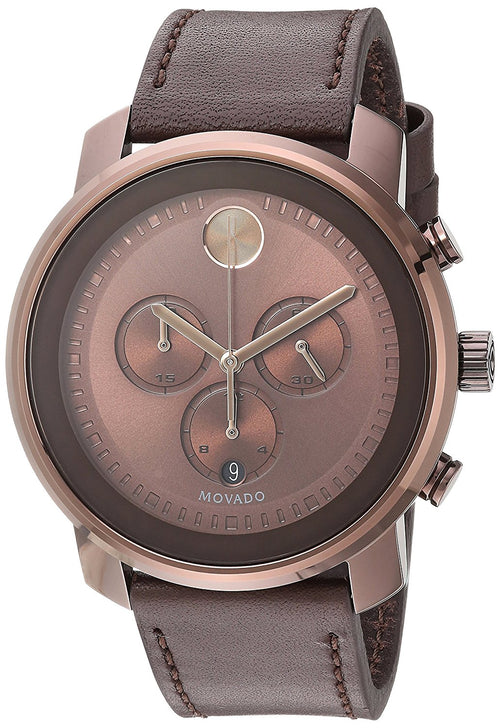 Movado Men's 3600420 Bold 44mm Chronograph Brown Dial Brown Leather IP Watch