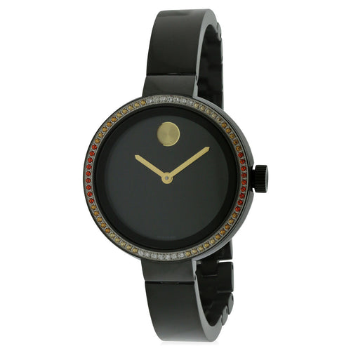 Movado 3600283 Women's Bold Black Dial Black IP Steel Bangle Bracelet Diamond Watch