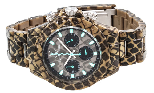 """Imprint Only Time ""Reptile"""" Snake Skin Print Plastic Case, Brown and Teal Dial, Snake Skin Print Plastic Bracelet Strap, Quartz, Chronograph Watch - Case Size: 41mm Diameter"