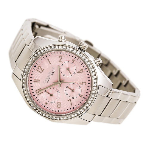Caravelle 43L191 Women's Crystal Sport Pink Dial Stainless Steel Chronograph Watch