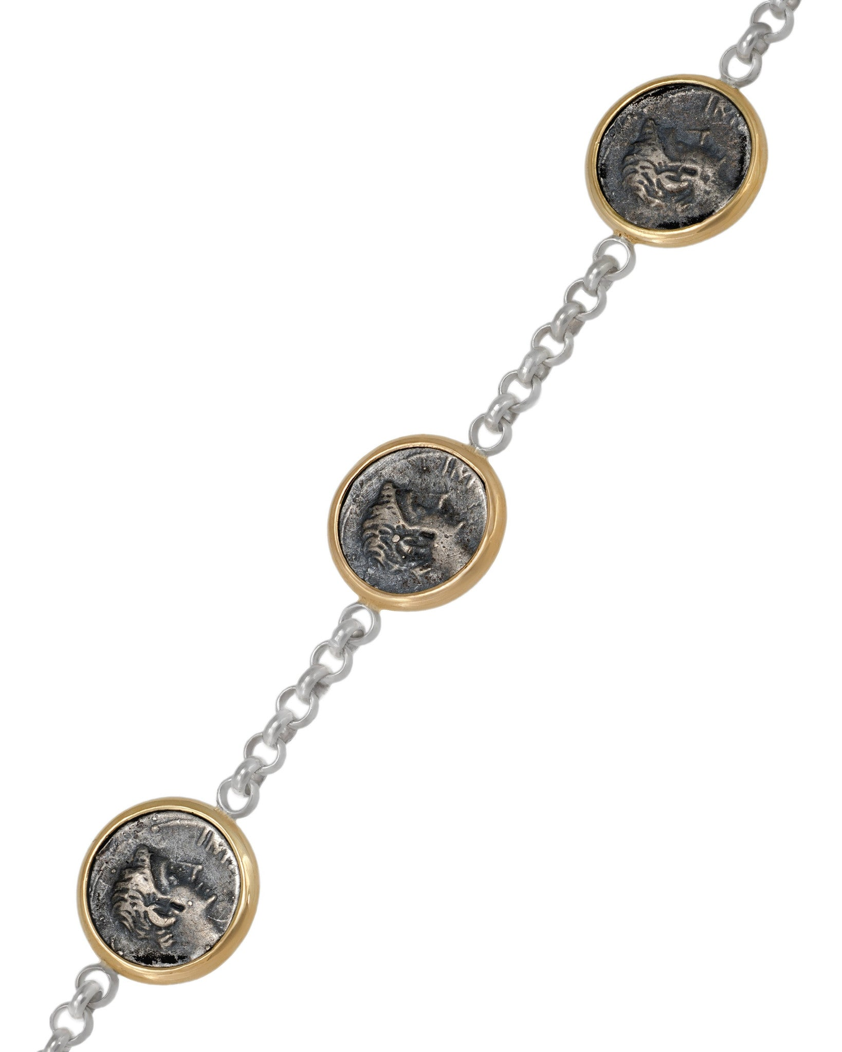 Appia 18K Yellow Gold and Sterling Silver Bracelet w/ 5 Small Antique Ottaviano Coins