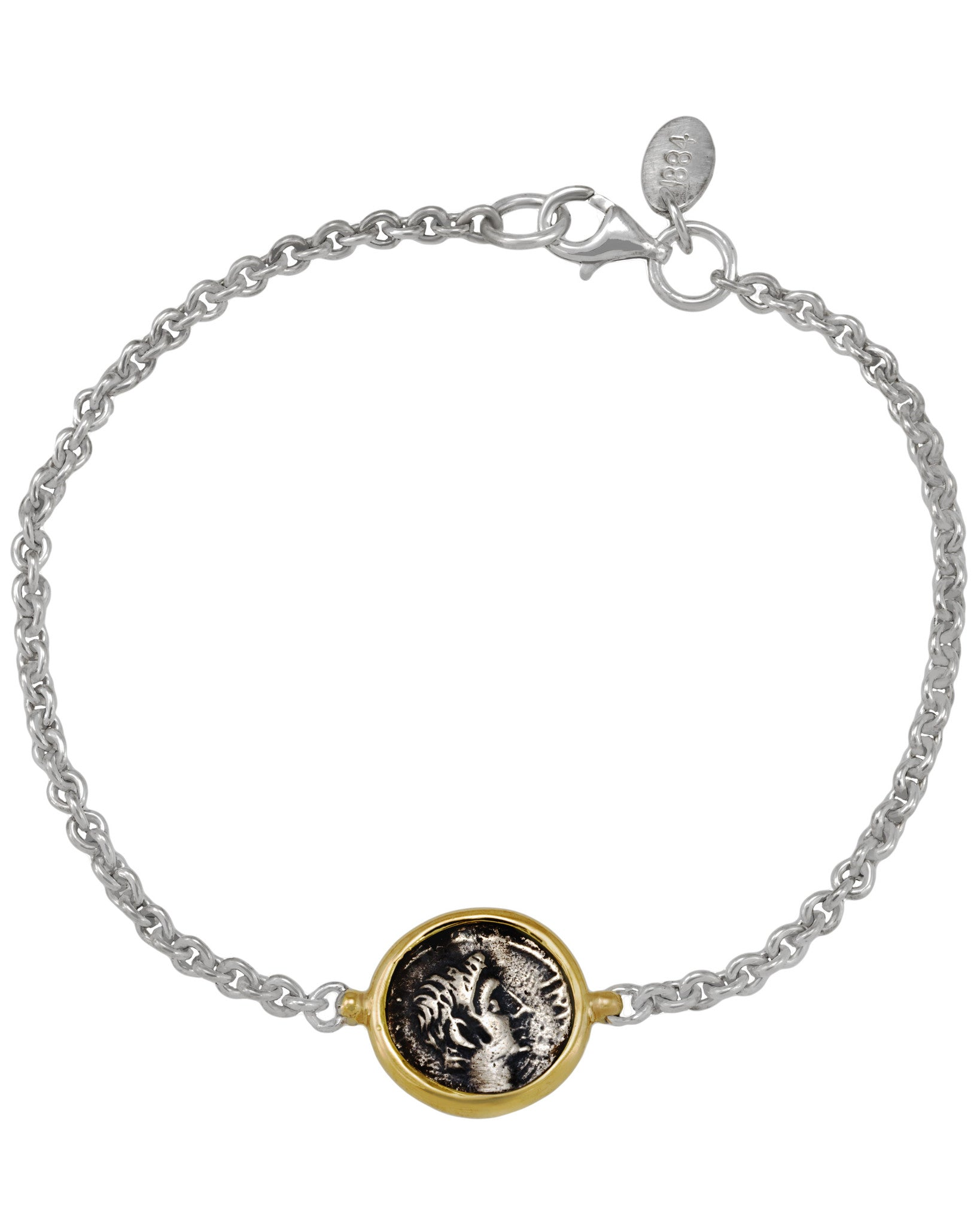 Appia 18K Yellow Gold and Sterling Silver Station Bracelet w/1 Antique Ottaviano Coin