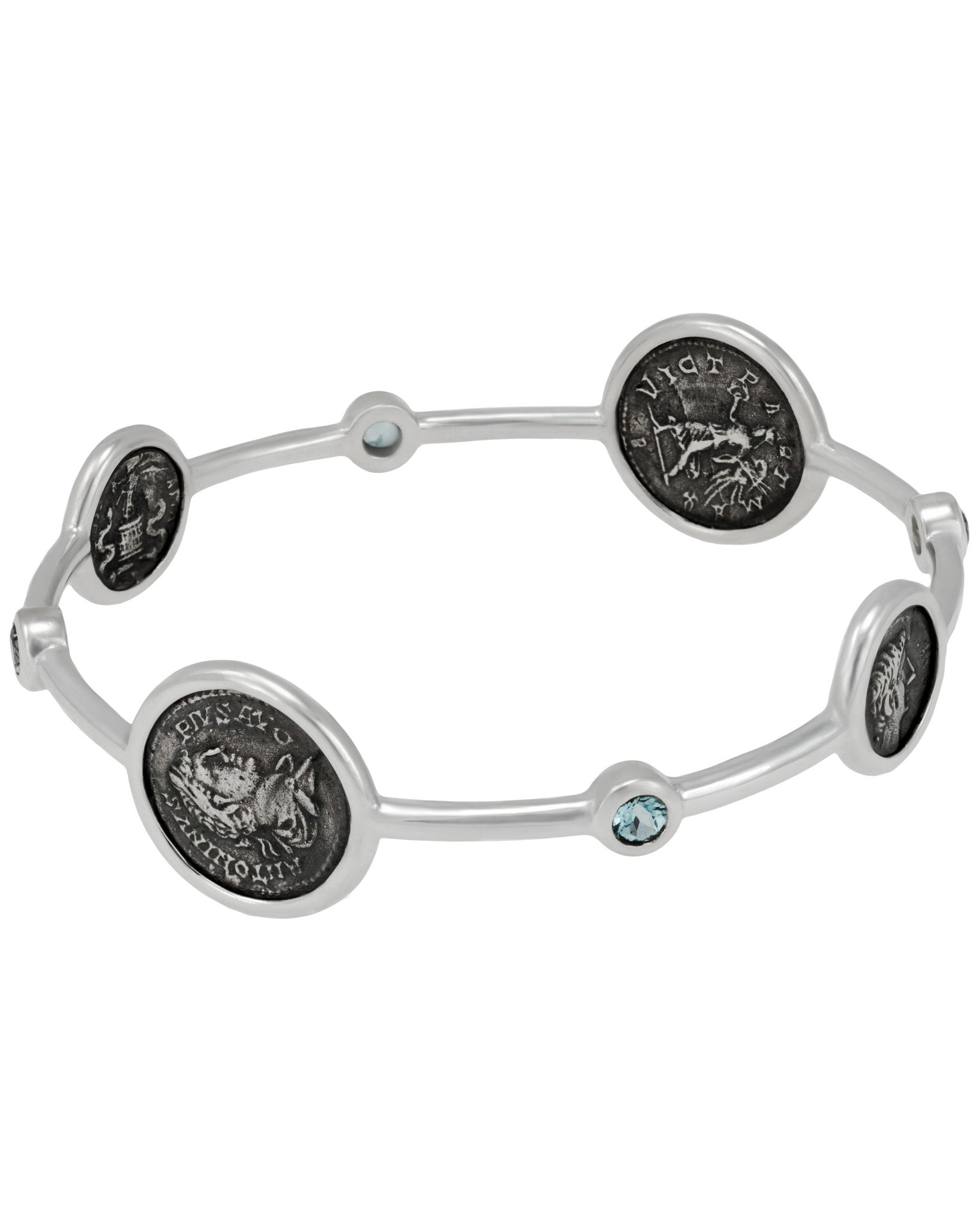 Legacy Vivace Sterling Silver Bangle w/ 2 Small Antique Ottaviano Coins and 2 Medium Antique Pius Coins and Blue Topaz (1.10 ct. tw.)