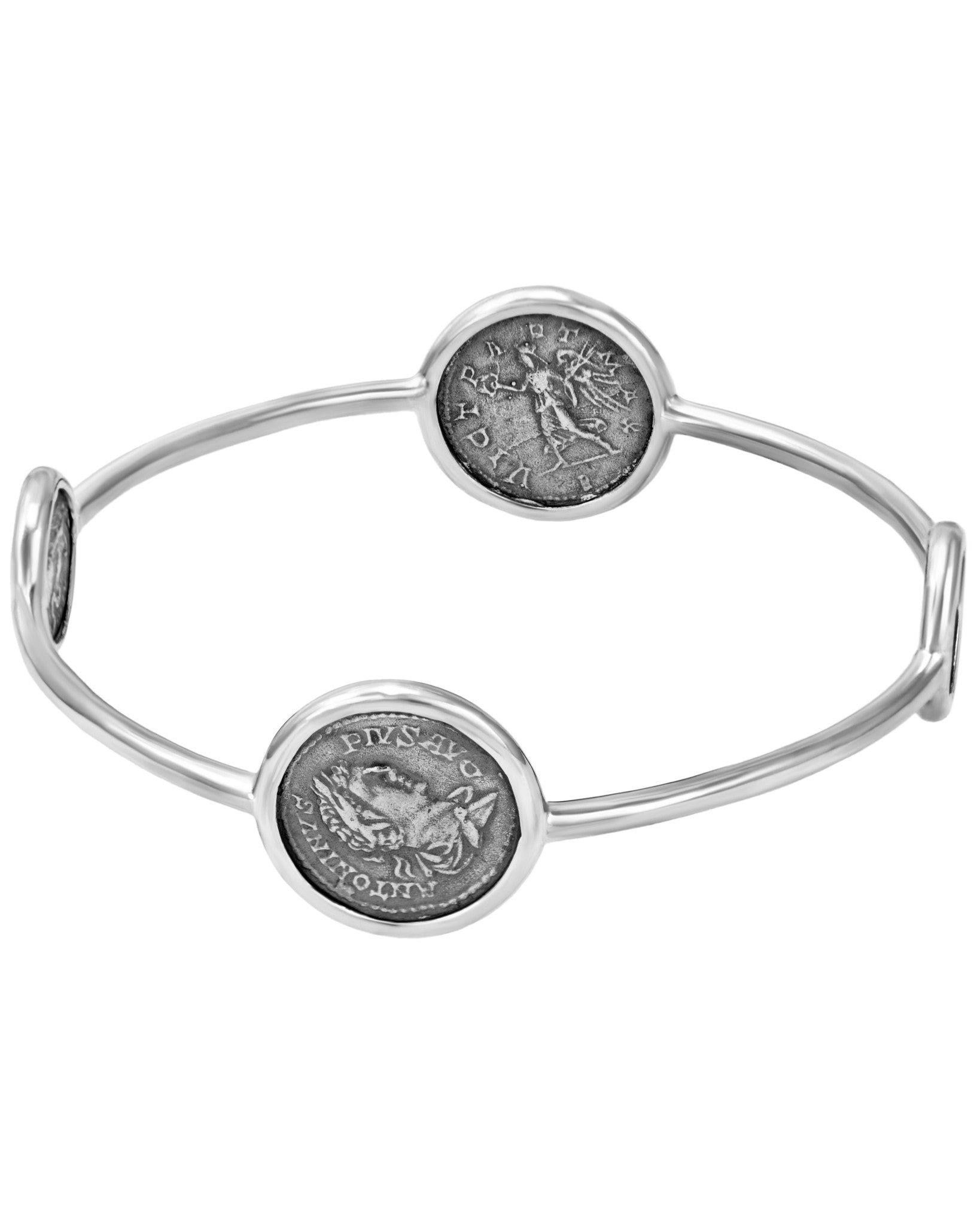 Legacy Vivace Sterling Silver Bangle w/ 2 Small Antique Ottaviano Coins and 2 Medium Antique Pius Coins