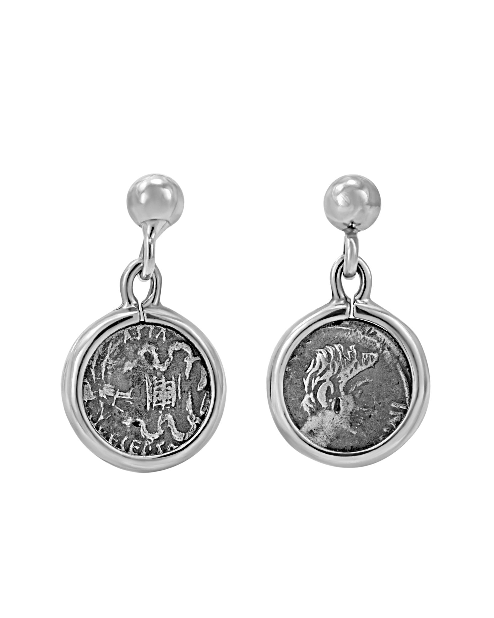 Legacy Sterling Silver Post Earrings w/ Antique Ottaviano Coins
