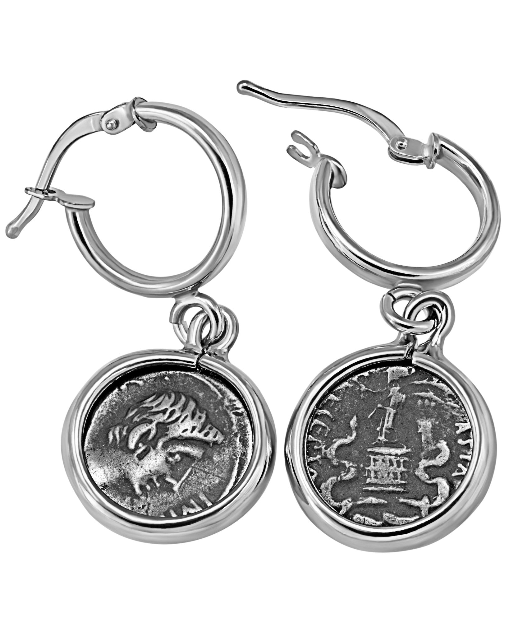 Legacy Sterling Silver Hook Earrings w/ Antique Ottaviano Coins