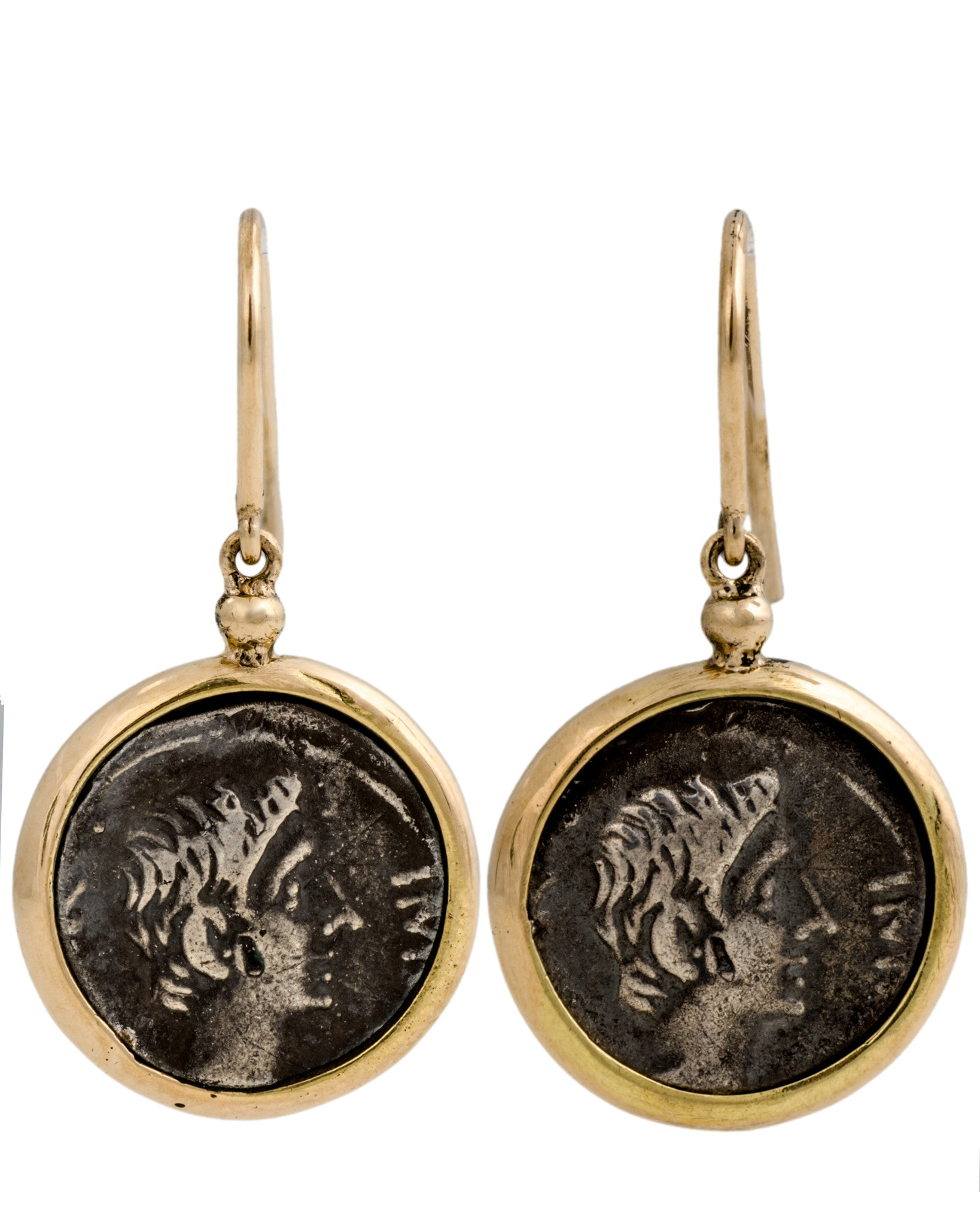 Appia 18K Yellow Gold Small Eearrings w/ Antique Ottaviano Coins