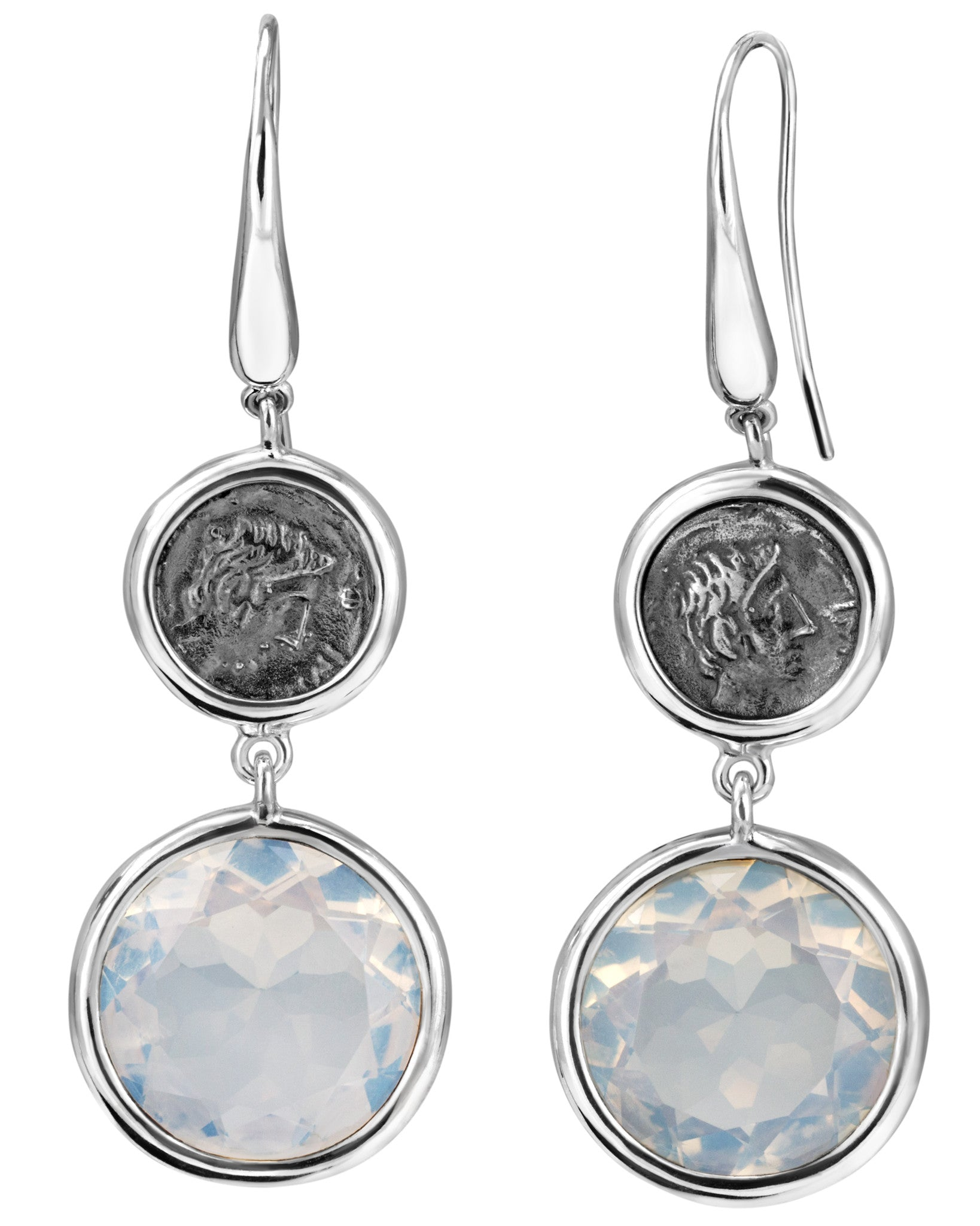 Legacy Vivace Sterling Silver Earrings w/ Small Antique Ottaviano Coins and Moonstone (25.50 ct. tw.)