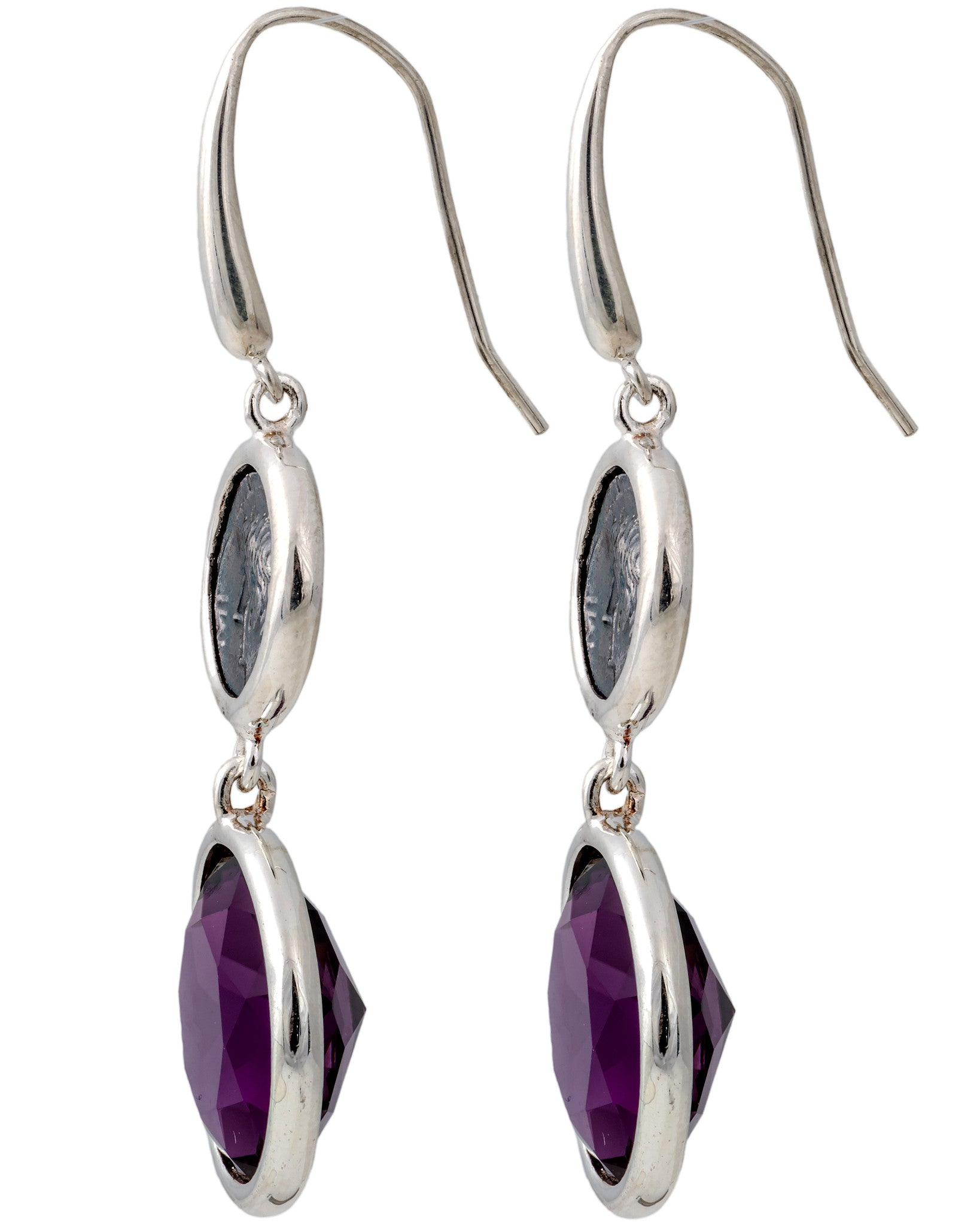 Legacy Vivace Sterling Silver Earrings w/ Small Antique Ottaviano Coins and Amethyst (27.90 ct. tw.)